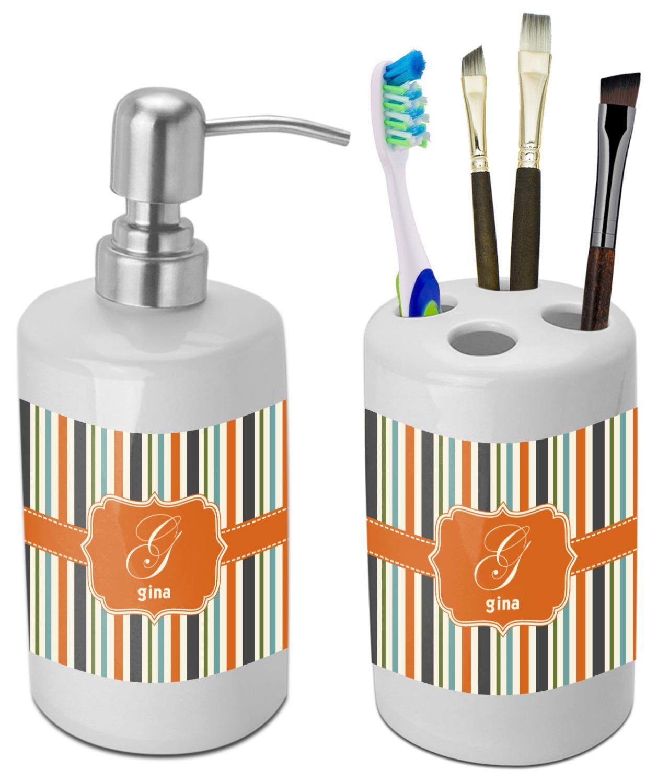 Orange U0026 Blue Stripes Bathroom Accessories Set (Ceramic) (Personalized)