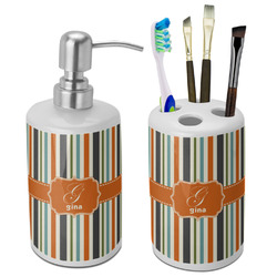 Orange & Blue Stripes Bathroom Accessories Set (Ceramic) (Personalized)