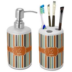 Orange & Blue Stripes Ceramic Bathroom Accessories Set (Personalized)
