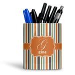 Orange & Blue Stripes Ceramic Pen Holder