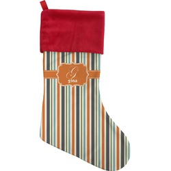 Orange & Blue Stripes Christmas Stocking (Personalized)