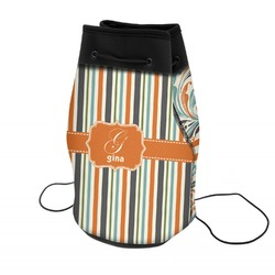 Orange & Blue Stripes Neoprene Drawstring Backpack (Personalized)
