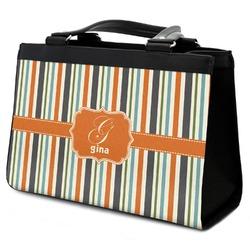 Orange & Blue Stripes Classic Tote Purse w/ Leather Trim w/ Name and Initial