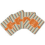 Orange & Blue Stripes Cork Coaster - Set of 4 w/ Name and Initial