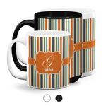 Orange & Blue Stripes Coffee Mugs (Personalized)