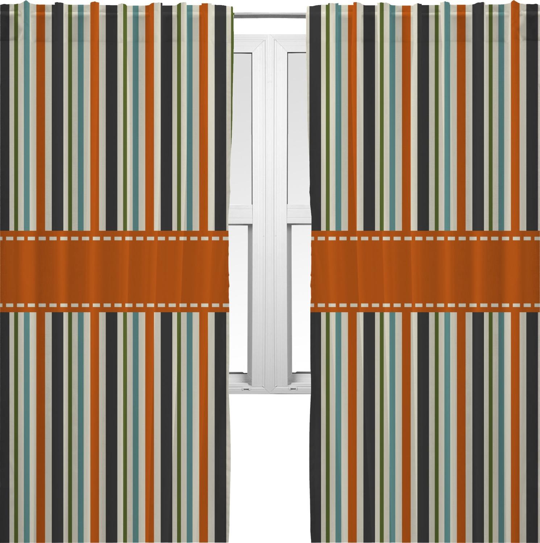 orange blue stripes curtains 40 x54 panels lined 2 panels per set personalized rnk. Black Bedroom Furniture Sets. Home Design Ideas