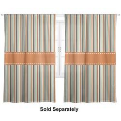 "Orange & Blue Stripes Curtains - 40""x54"" Panels - Unlined (2 Panels Per Set) (Personalized)"