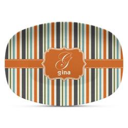 Orange & Blue Stripes Plastic Platter - Microwave & Oven Safe Composite Polymer (Personalized)