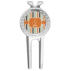 Orange & Blue Stripes Golf Divot Tool & Ball Marker (Personalized)