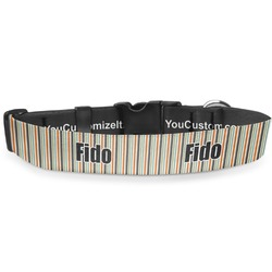 """Orange & Blue Stripes Deluxe Dog Collar - Double Extra Large (20.5"""" to 35"""") (Personalized)"""