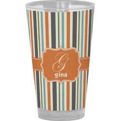 Orange & Blue Stripes Drinking / Pint Glass (Personalized)