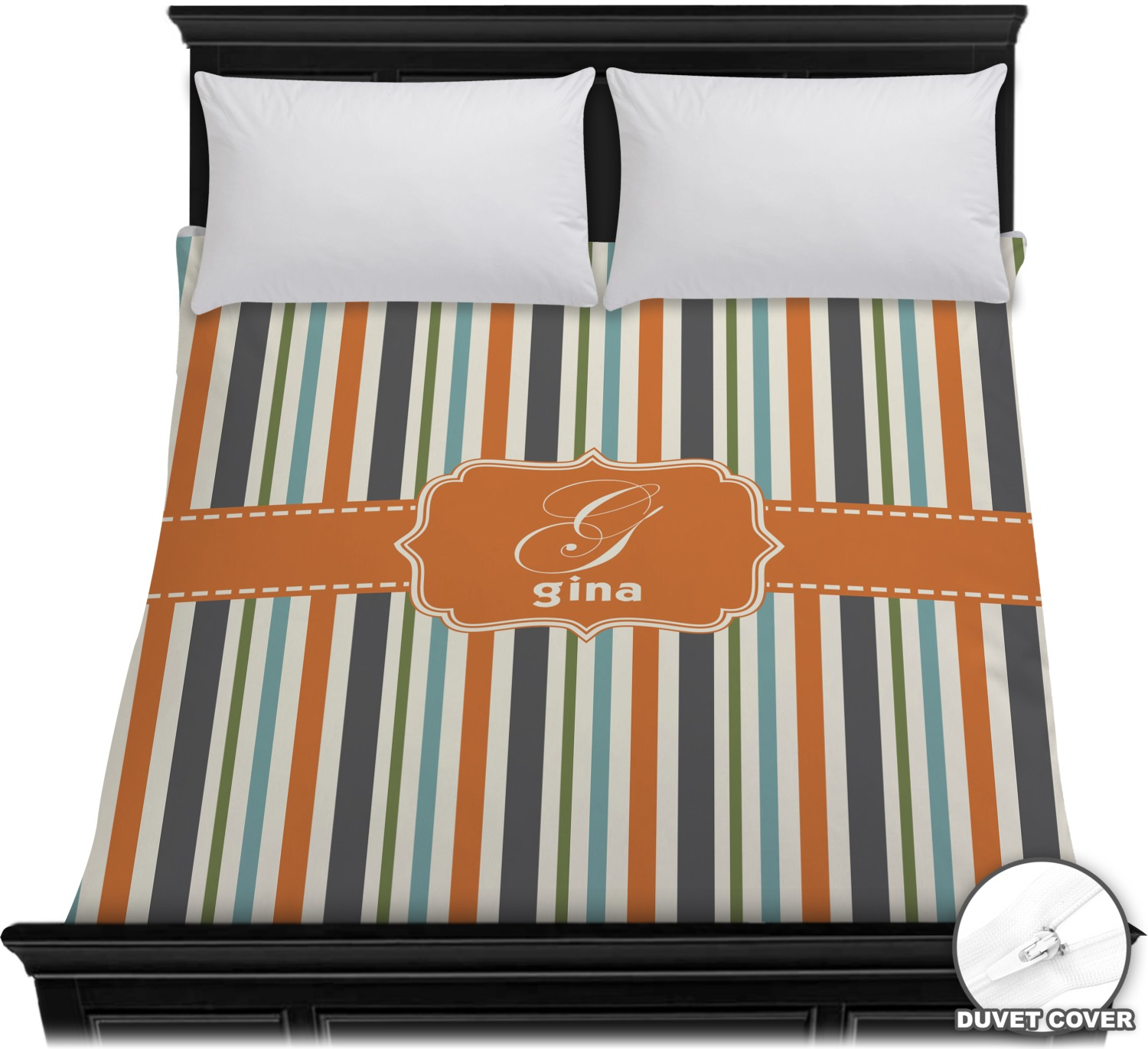 Orange Amp Blue Stripes Duvet Cover Full Queen