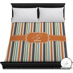 Orange & Blue Stripes Duvet Cover (Personalized)