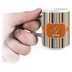 Orange & Blue Stripes Espresso Mug - 3 oz (Personalized)
