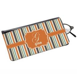 Orange & Blue Stripes Genuine Leather Eyeglass Case (Personalized)