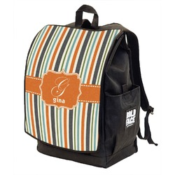 Orange & Blue Stripes Backpack w/ Front Flap  (Personalized)
