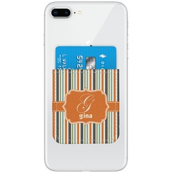 Orange & Blue Stripes Genuine Leather Adhesive Phone Wallet (Personalized)