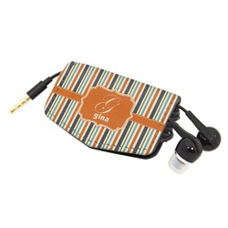Orange & Blue Stripes Genuine Leather Cord Wrap (Personalized)