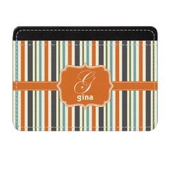 Orange & Blue Stripes Genuine Leather Front Pocket Wallet (Personalized)