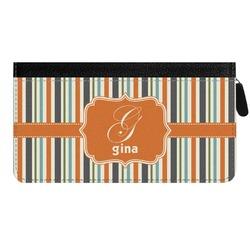 Orange & Blue Stripes Genuine Leather Ladies Zippered Wallet (Personalized)