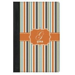 Orange & Blue Stripes Genuine Leather Passport Cover (Personalized)