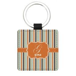 Orange & Blue Stripes Genuine Leather Rectangular Keychain (Personalized)
