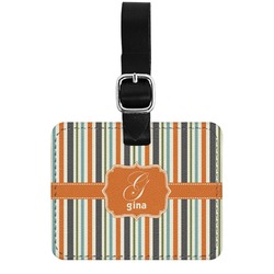Orange & Blue Stripes Genuine Leather Rectangular  Luggage Tag (Personalized)