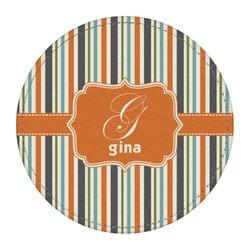 Orange & Blue Stripes Round Desk Weight - Genuine Leather  (Personalized)