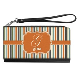 Orange & Blue Stripes Genuine Leather Smartphone Wrist Wallet (Personalized)