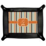 Orange & Blue Stripes Genuine Leather Valet Tray (Personalized)