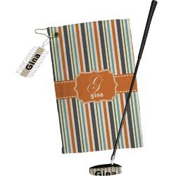 Orange & Blue Stripes Golf Towel Gift Set (Personalized)