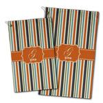 Orange & Blue Stripes Golf Towel - Full Print w/ Name and Initial