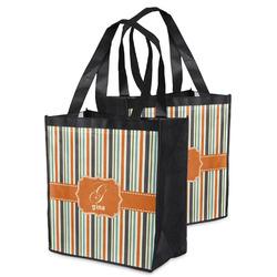 Orange & Blue Stripes Grocery Bag (Personalized)