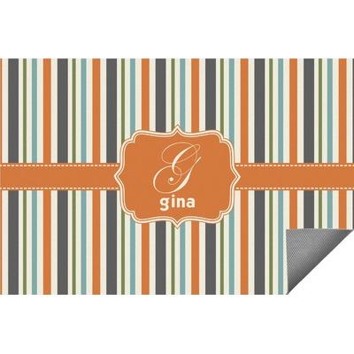Orange & Blue Stripes Indoor / Outdoor Rug (Personalized)