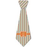 Orange & Blue Stripes Iron On Tie - 4 Sizes w/ Name and Initial