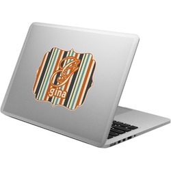 Orange & Blue Stripes Laptop Decal (Personalized)