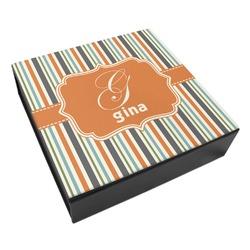 Orange & Blue Stripes Leatherette Keepsake Box - 3 Sizes (Personalized)