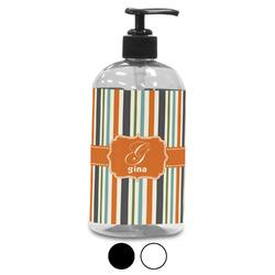 Orange & Blue Stripes Plastic Soap / Lotion Dispenser (Personalized)