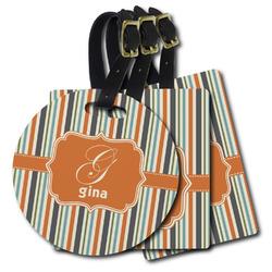 Orange & Blue Stripes Plastic Luggage Tags (Personalized)