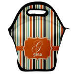 Orange & Blue Stripes Lunch Bag w/ Name and Initial