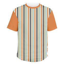 Orange & Blue Stripes Men's Crew T-Shirt (Personalized)