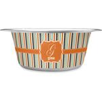 Orange & Blue Stripes Stainless Steel Dog Bowl (Personalized)