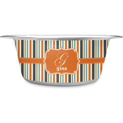 Orange & Blue Stripes Stainless Steel Pet Bowl (Personalized)