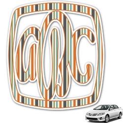 Orange & Blue Stripes Monogram Car Decal (Personalized)