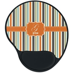 Orange & Blue Stripes Mouse Pad with Wrist Support