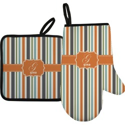 Orange & Blue Stripes Oven Mitt & Pot Holder (Personalized)