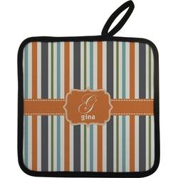 Orange & Blue Stripes Pot Holder (Personalized)