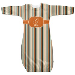 Orange & Blue Stripes Newborn Gown (Personalized)