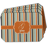 Orange & Blue Stripes Dining Table Mat - Octagon w/ Name and Initial