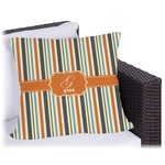Orange & Blue Stripes Outdoor Pillow (Personalized)